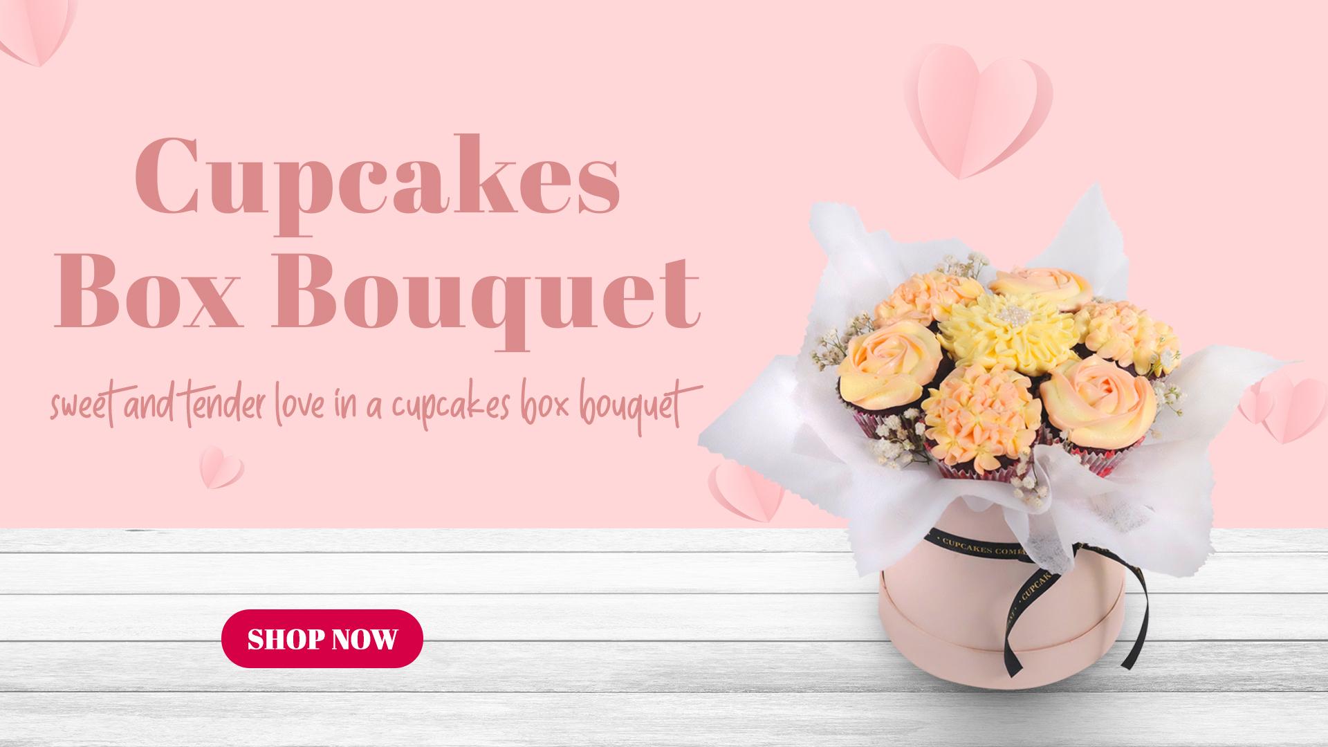 Banner Cupcakes box Bouquet